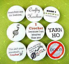 Pinback Buttons - Crochet (Set of 9) | Slipped Stitch Studios