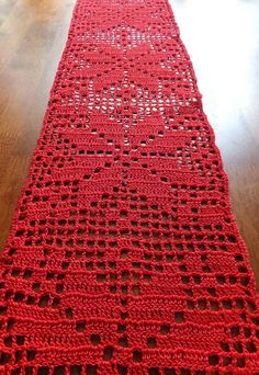 SALE Christmas table runner - crochet doily - crochet tablecloth - Christmas doily - red table decor - patterned table runner ~59 x 6.7 in