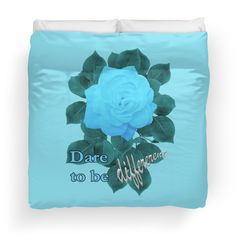 'Dare to Be Different - Turquoise Blue Rose' Duvet Cover by Suzette Ransome