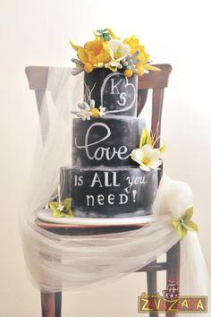 Chalkboard Wedding Cake by Nasa Mala Zavrzlama - http://cakesdecor.com/cakes/246280-chalkboard-wedding-cake