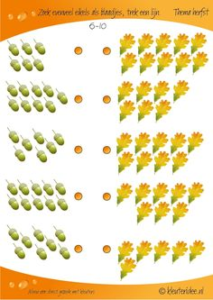 Zoek evenveel eikels als blaadjes 6-10, kleuteridee, rekenen thema herfst, Looking as many acorns as leaves, preschool math, free printable.