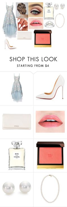 """""""amazing"""" by karomishell on Polyvore featuring moda, Notte by Marchesa, Christian Louboutin, Kate Spade, Chanel, Tom Ford y Mikimoto"""