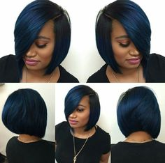 Dope blue bob via - Black Hair Information - Short Bob Hair Styles Short Bob Hairstyles, Girl Hairstyles, Black Hairstyles, Bob Haircuts, Amazing Hairstyles, Curly Hair Styles, Natural Hair Styles, Pelo Pixie, My Hairstyle