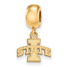 Sterling Silver w/GP LogoArt Iowa State University XS Dangle Bead Charm