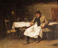 Munkácsy Mihály (1844-1900) Legény az asztalnál - tanulmány a Falu hőse című képéhez