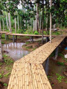 Lawn And Landscape, Garden Landscape Design, Bamboo Architecture, Architecture Details, Bamboo House Design, Farm Layout, Rest House, Garden Steps, Outdoor Restaurant
