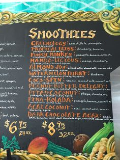Tru Nature Juice Bar - Long Beach, CA, United States. Smoothie menu