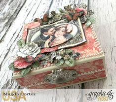 Be Mine Treasure Box- Mon Amour- By Magda Cortez- Product of Graphic Photo 07 of 07 Graphic 45, Altered Boxes, Altered Art, Book Projects, Projects To Try, Treasure Boxes, Mini Books, Shadow Box, Valentines Day