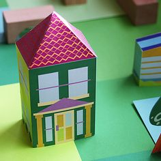 free printable neighborhood – paper toy house downloads – rainy day diy crafts for kids | Small for Big