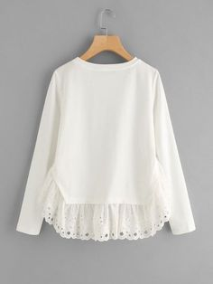 Shop eyelet embroidered ruffle trim sweatshirt online shein offers eyelet embroidered ruffle trim sweatshirt more to fit your fashionable needs fashioncombin Pullover Jacket, Pullover Outfit, Blouse Styles, Blouse Designs, Mode Outfits, Trendy Outfits, Hijab Fashion, Fashion Dresses, Fashion Styles