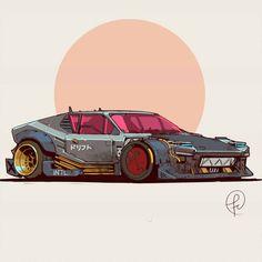 ArtStation - 2077 by Tomaso Pantera, Fernando Correa - Car Auto Illustration, 240z Datsun, Cool Car Drawings, Car Sketch, Car Design Sketch, Design Art, Cyberpunk Art, Futuristic Cars, Automotive Art