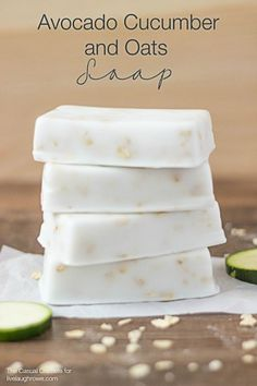 This Avocado Cucumber and Oats Soap Recipe is a glycerin soap that is very easy to make and leaves your skin feeling soft! www.livelaughrowe.com #soap