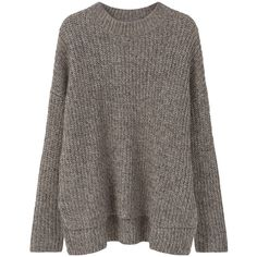 MANGO Ribbed Detail Sweater (£57) ❤ liked on Polyvore featuring tops, sweaters, long sleeve sweater, long sleeve cable knit sweater, side slit sweater, cable-knit sweater and brown sweater