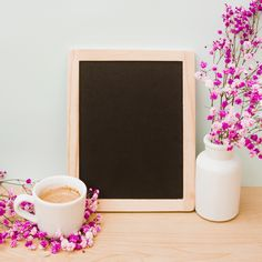 Coffee cup and pink baby's-breath vase near the blank wooden slate on desk against wall Free Photo Cherry Blossom Background, Pink And White Background, White And Pink Roses, Flower Background Wallpaper, Flower Phone Wallpaper, Frame Background, Flower Backgrounds, Watercolor Background, Rose Frame