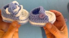 How to crochet my easy petite converse style slippers part 5 laces and buttons - YouTube