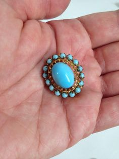 $24.44 vintage 50s CZECHO Brooch. Turquoise Satin Glass Cabochon. Czech Glass Brooch. gift for mom. gift for grandma. mother's day gift by wardrobetheglobe on Etsy