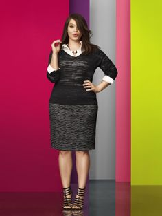Our Classic Pencil Skirt goes modern with a digital dash motif. Chic and sophisticated! #LaneBryant #Spring #Fashion