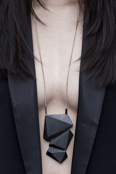 Geometric Jewellery - wooden statement necklace // Salome Charly/ Great polymer ...