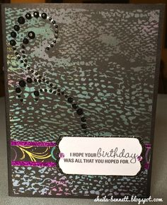Sheila's Stamping Stuff:  Shimmer, Sparkle, and Shine ~ Stampers With An Attitude (Blog Hop).  Belated Birthday stamp set with Laughing Lola paper.   #ctmh #stamp #cardmaking #birthdaycard