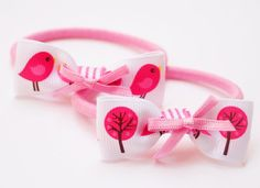 summer birds and trees white and fuschia ponytail by Bubblebuzz, $5.90