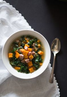 Sweet Potato, Ham and Kale Soup with Rosemary {AIP, Paleo}