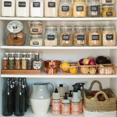 When it comes to pantry organization, it?s out with the old and in with the new with these tips from Apartment Therapy guaranteed to tidy up your space. Start by tossing out any snacks that are passed their prime. Then, keep all your favorite goodies in Pantry Organisation, Home Organization, Organized Pantry, Pantry Ideas, Organize Food Pantry, Open Pantry, Kitchen Pantry Storage, House 2, Organizing Ideas