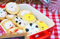 Cute animal cookies at a farm birthday party! See more party ideas at CatchMyParty.com!
