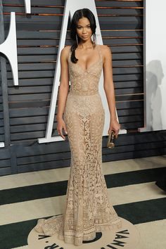 Chanel Iman showed off her underwear in a beige-colored sheer dress at the Vanity Fair afterparty.
