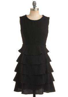 Cocktail Dress in Black Ruffles