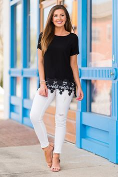 """""""Leave It All Up To Me Top, Black""""Leave it all up to this top to make you look and feel amazing! The crochet trim is so fab!! We love the way it look with white or colored skinnies! #newarrivals #shopthemint"""