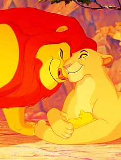 The birth of Simba. Mufasa and Sarabi look like loving, proud parents. Love The Lion King!!!