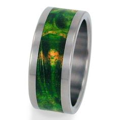 Titanium Ring with Green Box Elder Burl Wood by jewelrybyjohan, $199.00