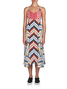 KENZO Chevron Silk Dress - Peach Combo - Size 40 (8)