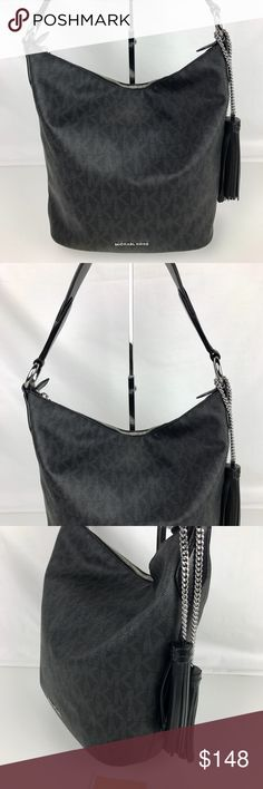 "Michael Kors Elana Large East West Shoulder Bag Condition: New, no tag. New condition inside and out.   This is a stunning bag! Everyone comments when I wear mine. Michael Kors shoulder bag in signature PVC with Leather Flat shoulder strap with rings; 13"" drop. Top zip closure. Hanging tassel detail. Exterior back slip pocket and adjustable crossbody strap included. 12""H x 15""W x 5""D. Style 30T6GE3L3B. RB356  Thank you for your interest!  PLEASE - NO TRADES / NO LOW BALL OFFERS / NO OFFERS…"