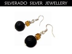 Natural Black Volcanic Lava Crystal Cube Beads Earrings on Etsy, 18,00€