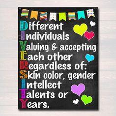 Diversity Poster School Counselor Poster Teen Bedroom Decor