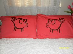Cute Little Blue Eyed Pigs Hand Painted, Couples Pillow Cases by TreasuresShop on Etsy