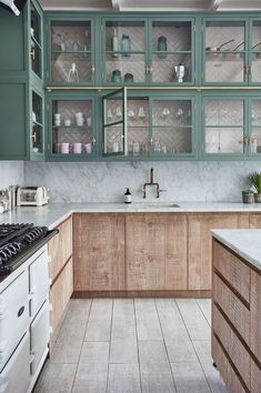 Whitewashed kitchen cabinets in this modern take of the farmhouse kitchen by BLA. Whitewashed kitchen cabinets in this modern take of the farmhouse kitchen by BLAKES LONDON Farm Kitchen Ideas, Home Decor Kitchen, Kitchen Interior, Kitchen Trends, Whitewash Kitchen Cabinets, Unfinished Kitchen Cabinets, Best Kitchen Cabinets, Oak Cabinets, Kitchen Countertops