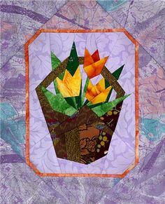 Tulip Basket Paper-Pieced Quilt Pattern at paperpanache.com