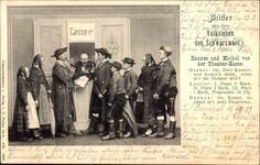 Ansichtskarte / Postkarte Bilder aus dem Volksleben des Schwarzwalds, Hannes und Michel, Theaterkasse