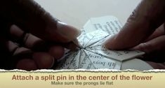 Picture of Attach a Split Pin to the Center of the Flower Geek Cross Stitch, Cross Stitch Bookmarks, Origami Instructions, Origami Tutorial, Origami Stars, Easy Origami, Origami Flowers, Diy Projects Origami, Origami Ball
