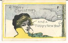 """Beautiful Vintage 1907  """"A Merry Christmas and A Happy New Year """" Glamour Girl Postcard by COLLECTORSCENTER on Etsy"""