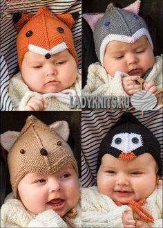 Вязаные спицами детские шапки: лиса, медведь, кошка и пингвин.