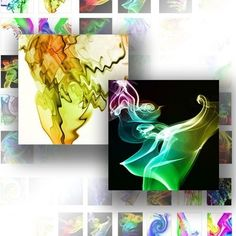 Digital collage for scrabble tiles 1 inch digital art downloads images jewelry making paper supplies Smoky rainbow