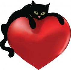 Black cat and heart Clipart Cat Hug, Dog Cat, Crazy Cat Lady, Crazy Cats, I Love Cats, Cute Cats, Black Cat Art, Black Cats, Animal Gato