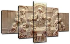 Jesus Last Supper Wall Decor for Living Room Pictures 5 Piece Canvas Prints Wall Art Christ Ultima Cena Paintings Bedroom Decoration for Home Poster Frame Christian Catholic Art, Religious Art, Wall Art Prints, Poster Prints, Canvas Prints, Posters, Altar Design, 5 Piece Canvas Art, Dining Room Wall Decor