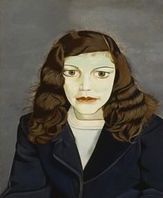 "Lucian Freud (Germany 1922- 2011 England), Girl in a Dark Jacket, 1947. Garman, a woman with large, slightly bulging eyes, stares toward but not at the viewer. Freud captured his subject staring into space, eyes unfocused, consumed by her own thoughts. He painstakingly rendered the tiny stray strands of her hair and gave her poreless flesh a greenish cast. Part of the exhibition ""Lucian Freud: Portraits,"" originating at the National Portrait Gallery, London, 2012. Private collection."