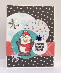 Art Impressions Rubber Stamps: AC Moore clear set ... Snow Much Fun (0736) ... includes matching dies! Handmade winter themed Christmas card.
