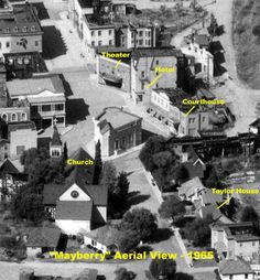 """40 Acres """"Mayberry"""" sets seen in """"The Andy Griffith Show"""" Mayberry Nc, The Backlot, Barney Fife, Don Knotts, The Andy Griffith Show, Online Photo Gallery, Vintage Tv, Vintage Hollywood, Vintage Movies"""