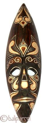 wooden tribal african style mask natural painted
